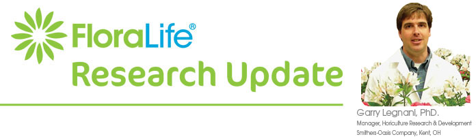 Floralife Research Update Masthead featuring Garry Legnani, PhD.